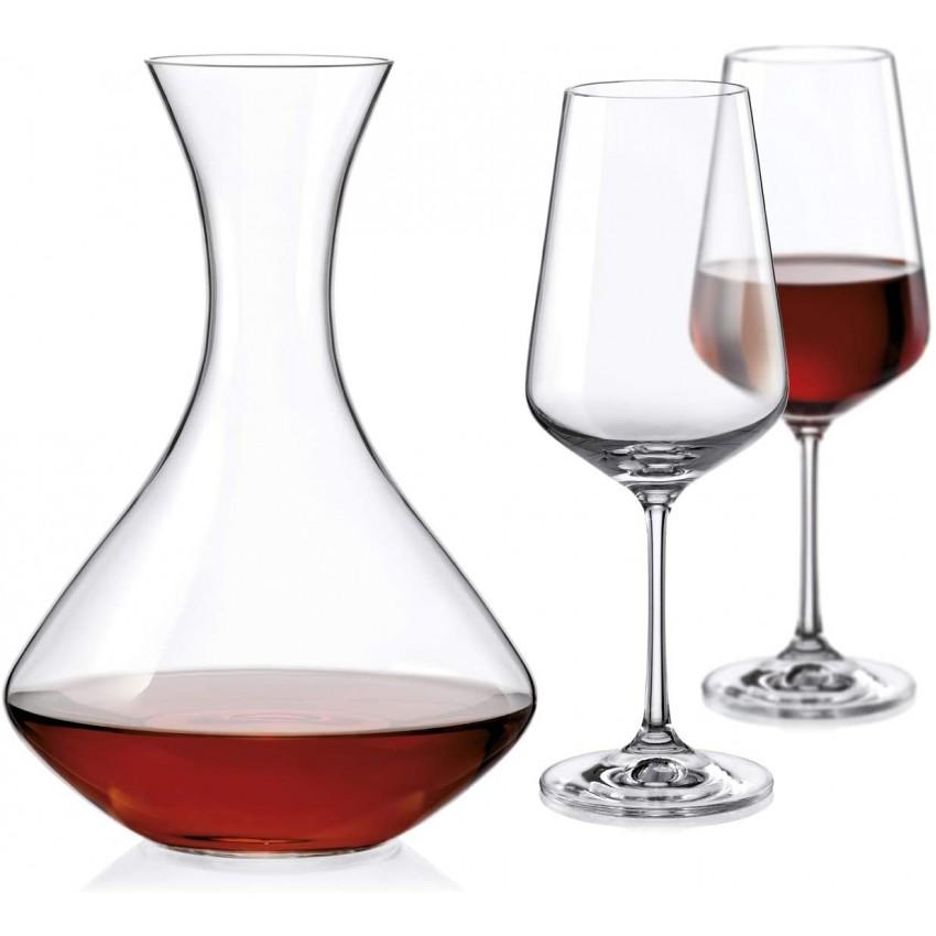 Комплект за вино - декантер с 2 чаши - Bohemia Crystalex Sandra