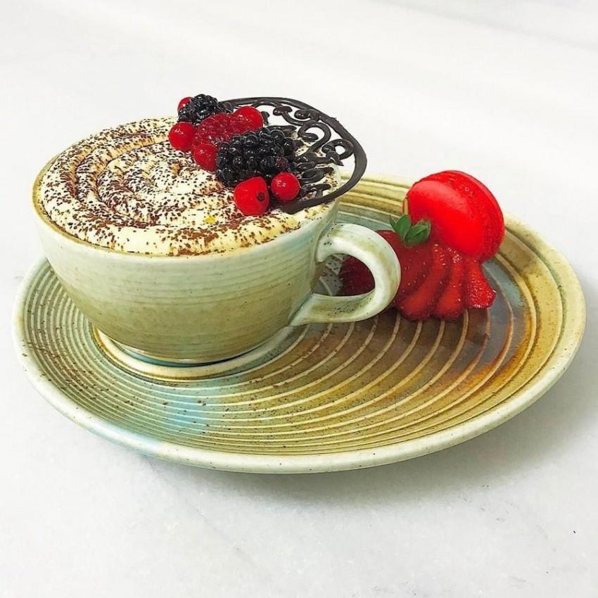 Чаша за топли напитки 250ml с чинийка - 1 брой - Bonna Coral