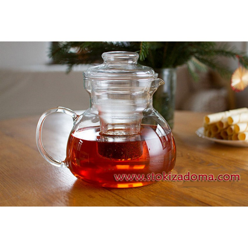 Стъклен чайник с цедка 1,5л