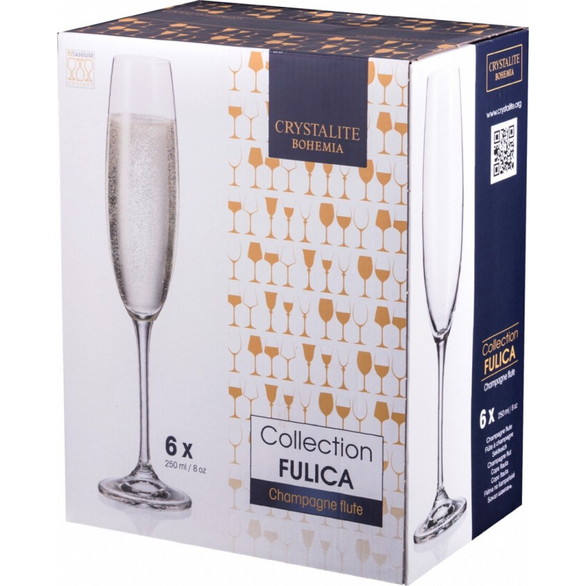чаши за шампанско Bohemia Fulica 250ml - 6 броя