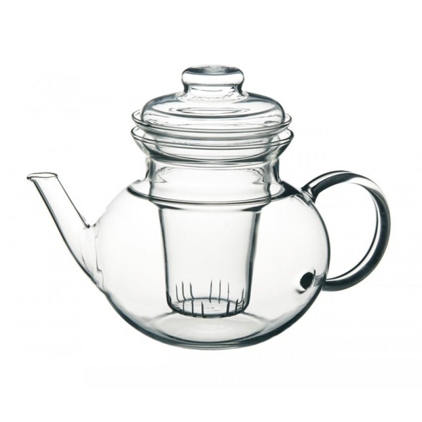 Стъклен чайник с цедка 1л
