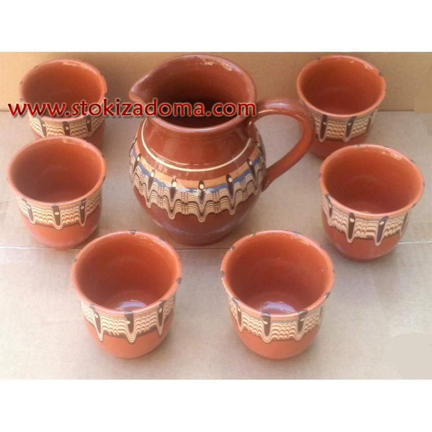 Комплект за вино и вода -  кана с 6 чаши