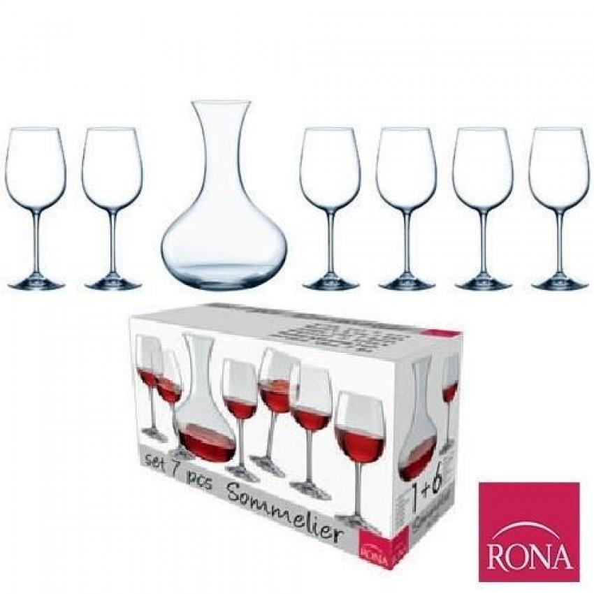 Комплект за вино Rona Sommelier - гарафа с 6 чаши