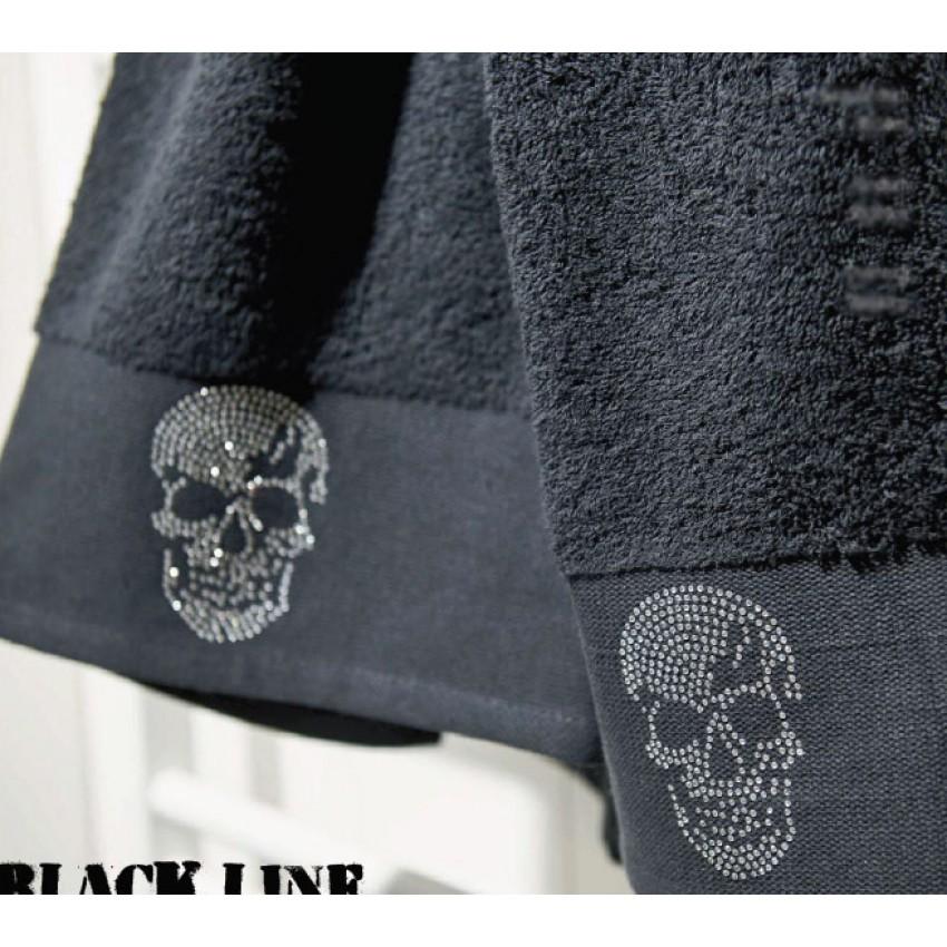 Кърпа 70см х 140см за плаж или баня - череп - черна